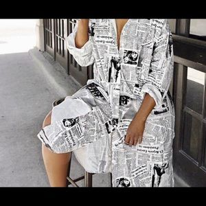 Newspaper print 3/4 sleeve dress